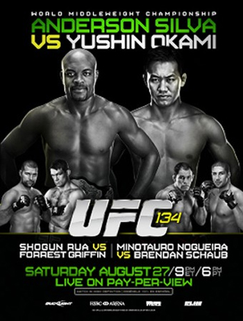 UFC Poster 134 Anderson Silva Okami Rua Forrest